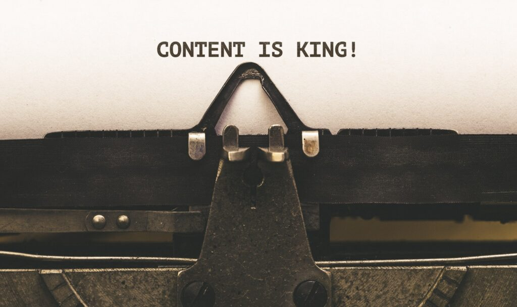Content is King message on paper in old typewriter