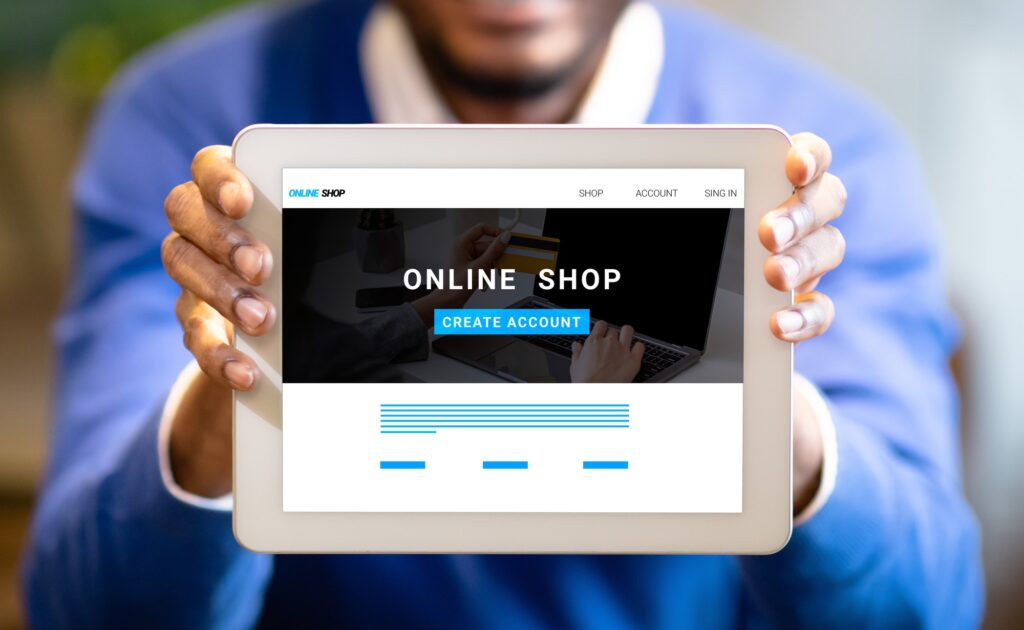 Young black businessman showing tablet with online shop website on screen, creative collage
